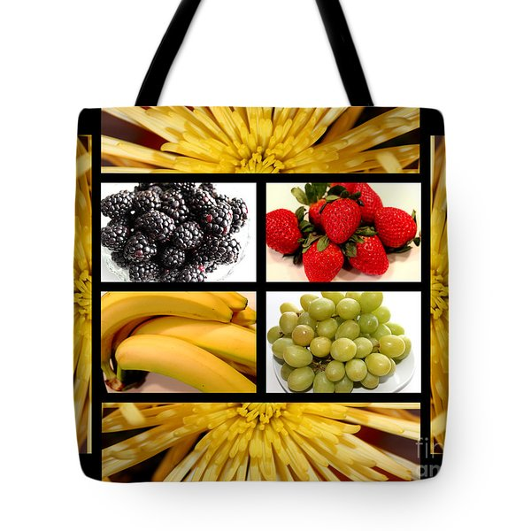 Mums Fruit Collage Tote Bag by Barbara Griffin