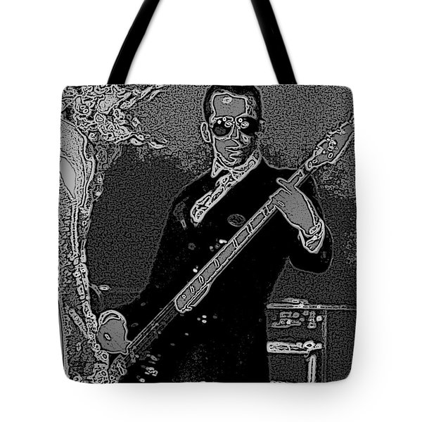 Bass Player Art Bw Tote Bag by Lesa Fine