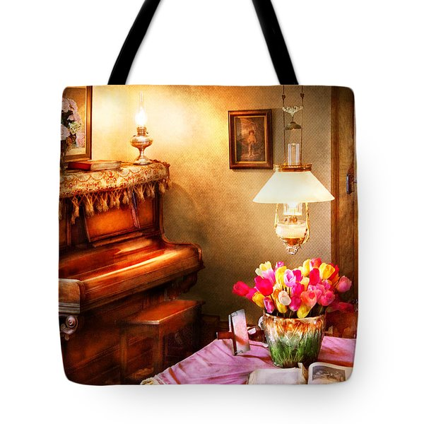 Music - Piano - The Music Room Tote Bag by Mike Savad