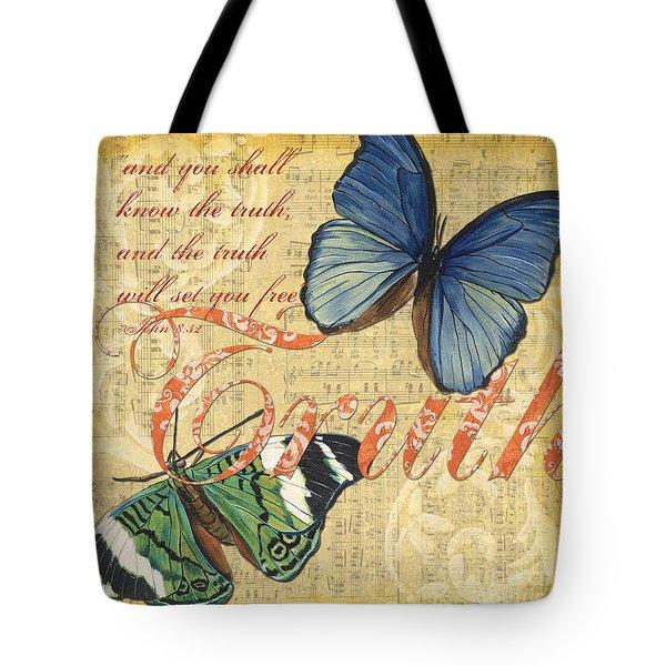 Musical Butterflies 3 Tote Bag by Debbie DeWitt