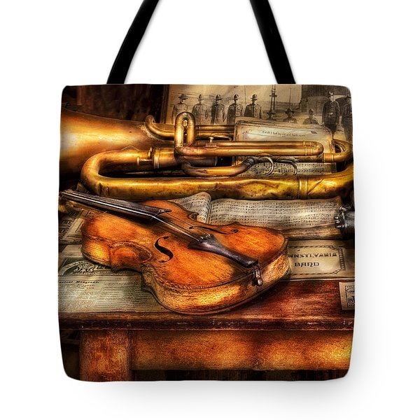 Musician - Horn - Two Horns And A Violin Tote Bag by Mike Savad