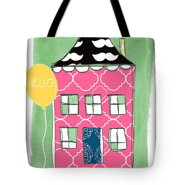 Mustache House Tote Bag by Linda Woods