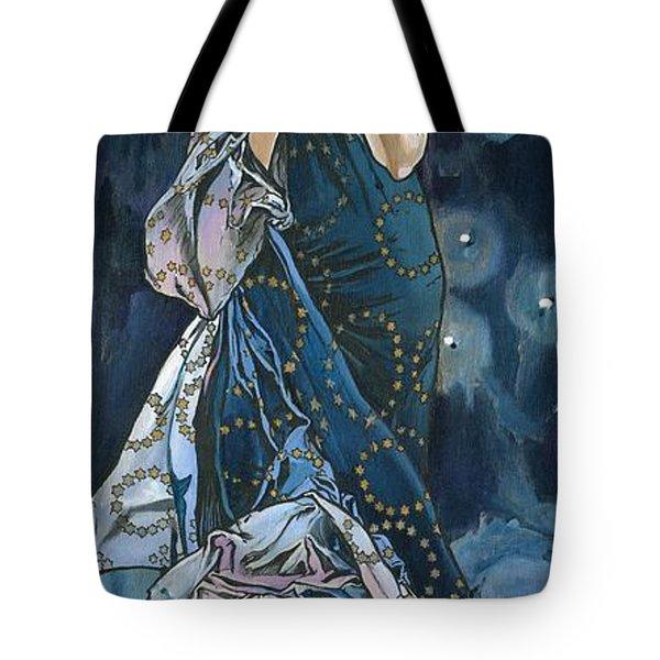 My Acrylic Painting As An Interpretation Of The Famous Artwork Of Alphonse Mucha - Moon - Tote Bag by Elena Yakubovich