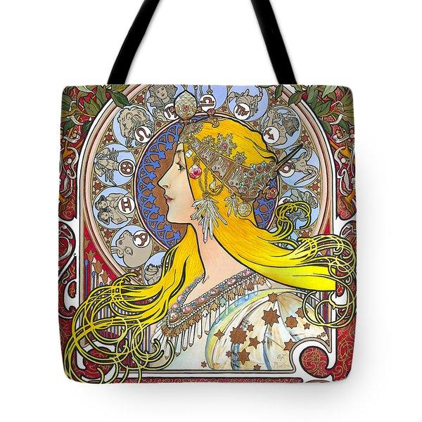 My Acrylic Painting As An Interpretation Of The Famous Artwork Of Alphonse Mucha - Zodiac - Tote Bag by Elena Yakubovich
