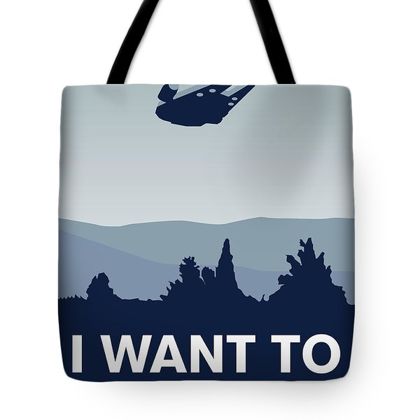 My I Want To Believe Minimal Poster-millennium Falcon Tote Bag by Chungkong Art
