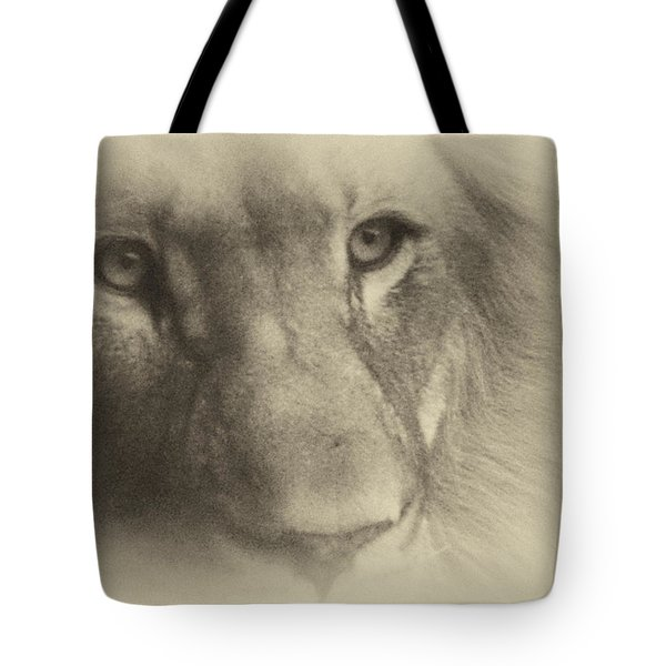 My Lion Eyes In Antique Tote Bag by Thomas Woolworth