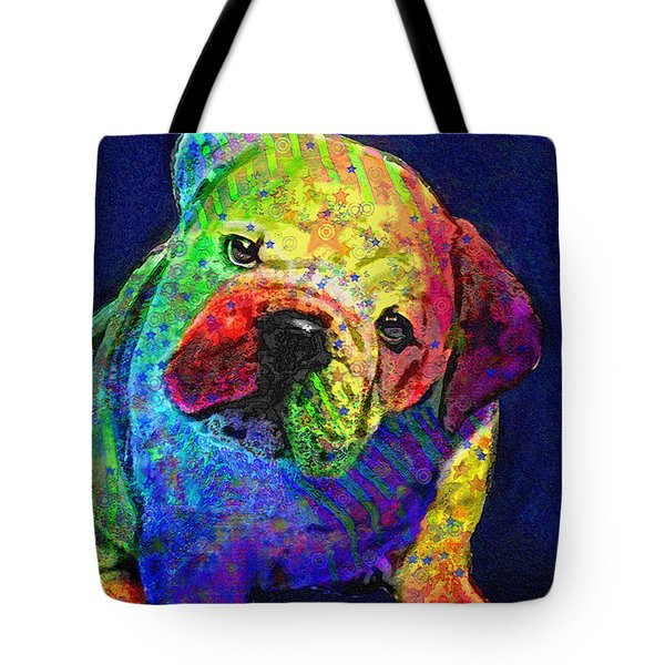 my psychedelic bulldog Tote Bag by Jane Schnetlage