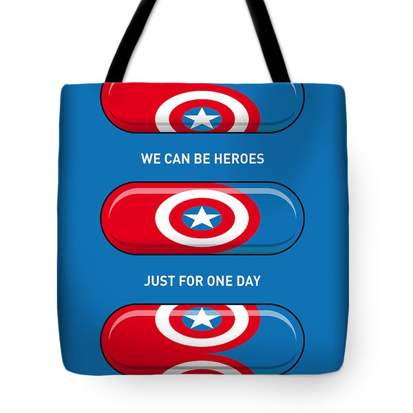 My Superhero Pills - Captain America Tote Bag by Chungkong Art