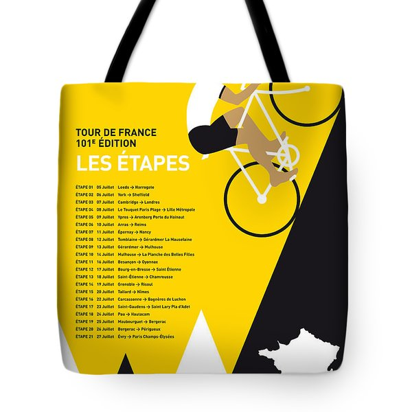 MY TOUR DE FRANCE MINIMAL POSTER 2014-ETAPES Tote Bag by Chungkong Art