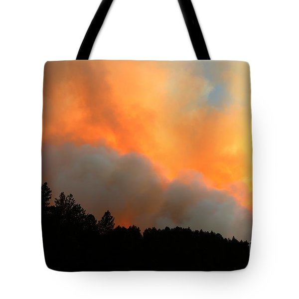 Tote Bag featuring the photograph Myrtle Fire Near Rifle Pit Road by Bill Gabbert
