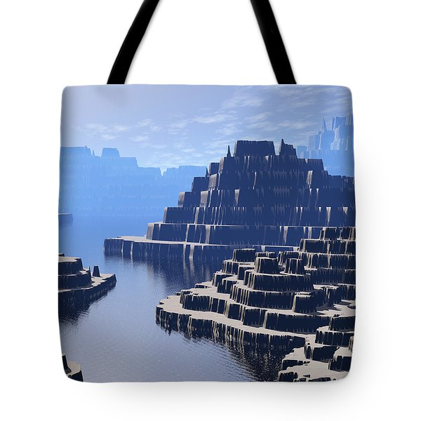 Mysterious Terraced Mountains Tote Bag by Phil Perkins