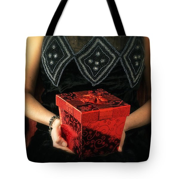 Mysterious Woman With Red Box Tote Bag by Edward Fielding