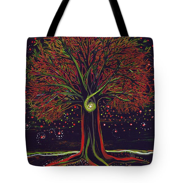Mystic Spiral Tree red by jrr Tote Bag by First Star Art