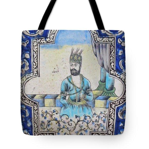 Nader Shah Qajar Ceramic Style Persian Art Tote Bag by Persian Art