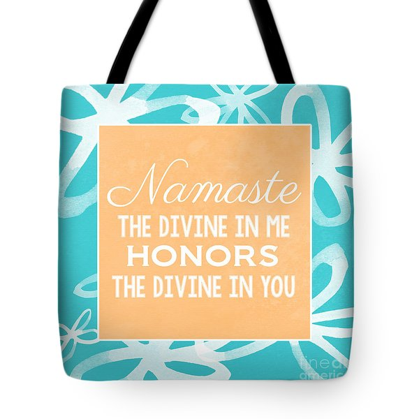 Namaste Watercolor Flowers- Blue Tote Bag by Linda Woods