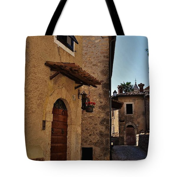 Narrow street in Italian Village Tote Bag by Dany  Lison