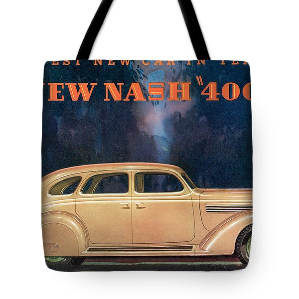Nash 400 - Vintage Car Poster Tote Bag by World Art Prints And Designs