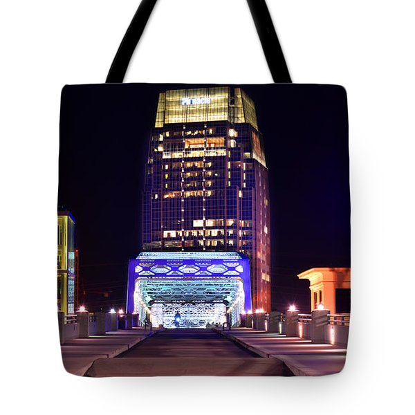 Nashville Sight Night Skyline Pinnacle Panorama Color Tote Bag by Jon Holiday