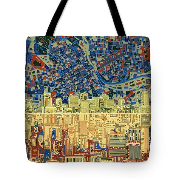 Nashville Skyline Abstract 9 Tote Bag by Bekim Art