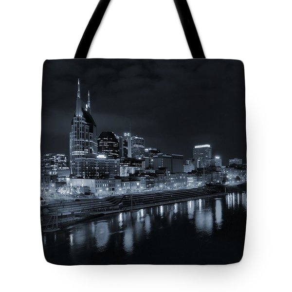 Nashville Skyline At Night Tote Bag by Dan Sproul