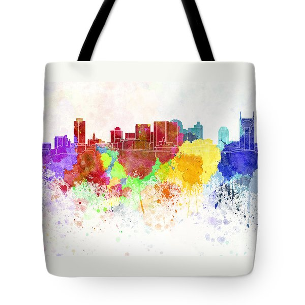 Nashville Skyline In Watercolor Background Tote Bag by Pablo Romero