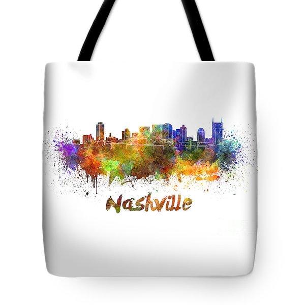 Nashville Skyline In Watercolor Tote Bag by Pablo Romero