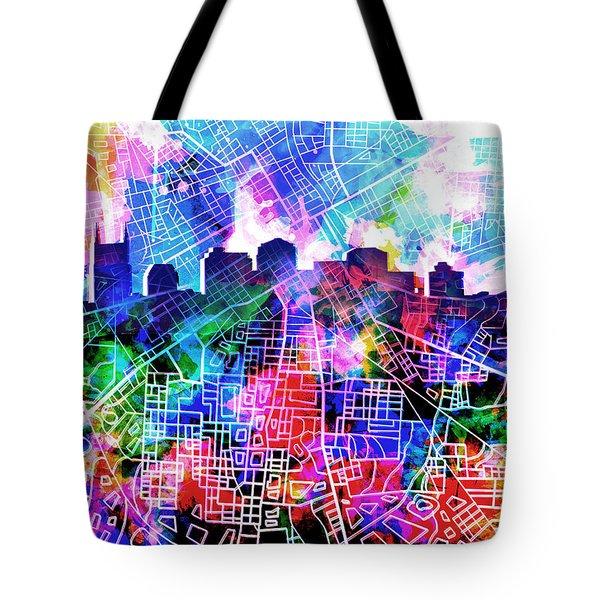 Nashville Skyline Watercolor 5 Tote Bag by Bekim Art