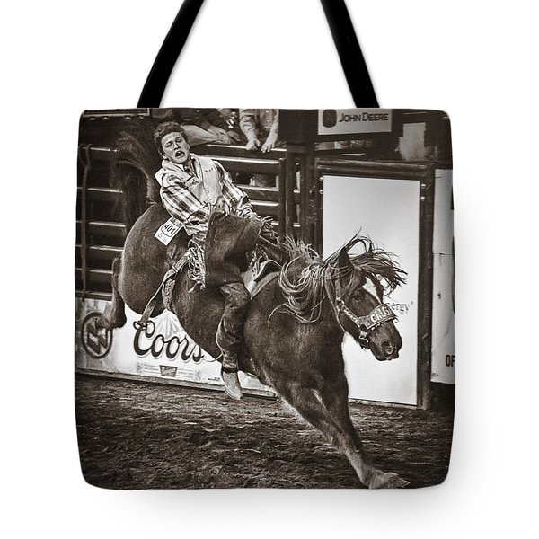 National Stock Show Bareback Riding Tote Bag by Priscilla Burgers