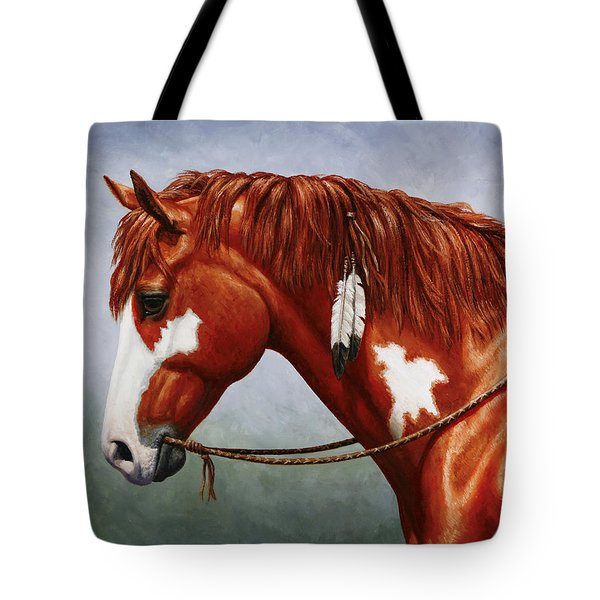 Native American Pinto Horse Tote Bag by Crista Forest