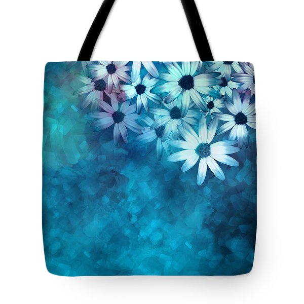 nature - flowers- White Daisies on Blue  Tote Bag by Ann Powell