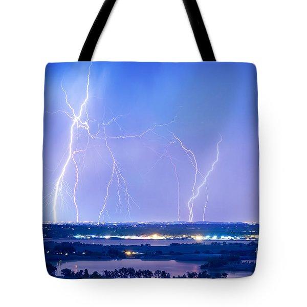 Natures Light Show Over The Boulder Reservoir  Tote Bag by James BO  Insogna