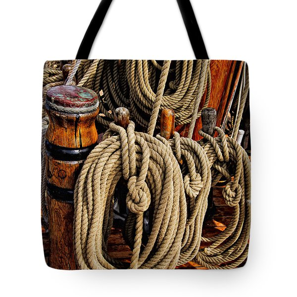 Nautical Knots 17 Oil Tote Bag by Mark Myhaver