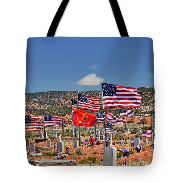 Navajo Veteran's Memorial Cemetery Tsehootsooi Tote Bag by Christine Till