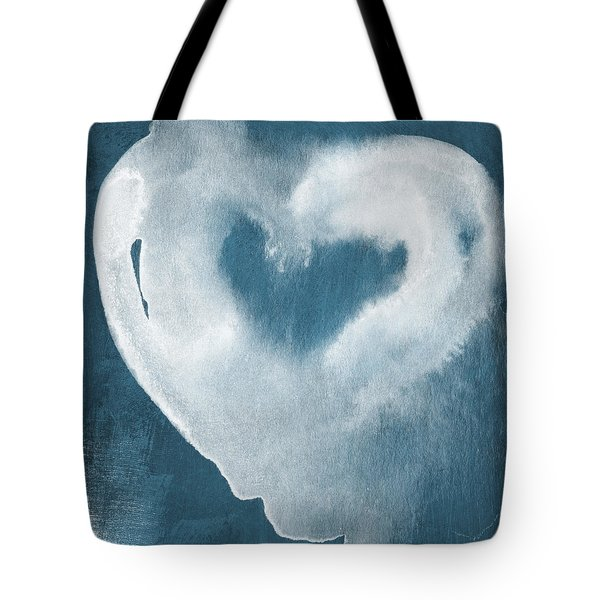 Navy Blue And White Love Tote Bag by Linda Woods