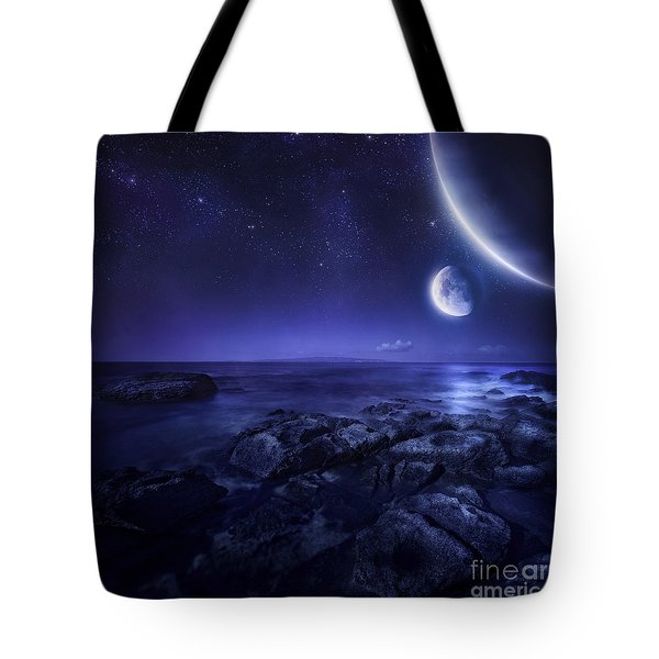 Nearby Planets Hover Over The Ocean Tote Bag by Evgeny Kuklev