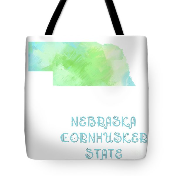 Nebraska - Cornhusker State - Map - State Phrase - Geology Tote Bag by Andee Design