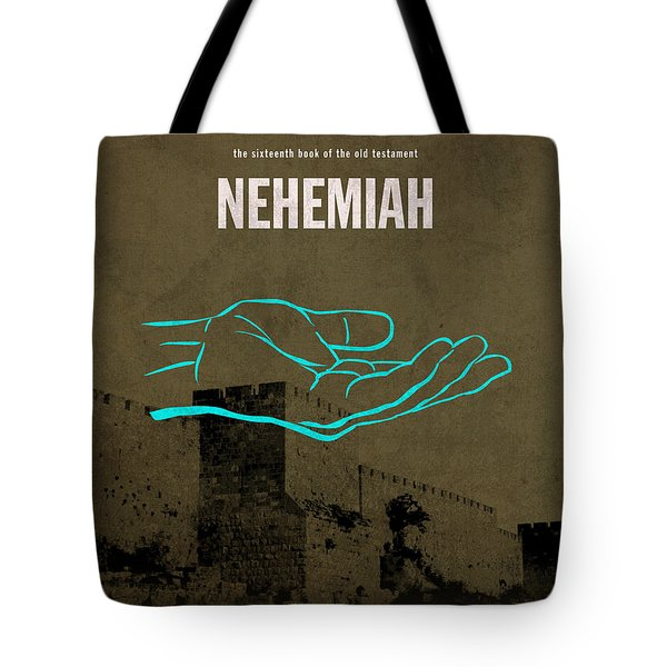 Nehemiah Books Of The Bible Series Old Testament Minimal Poster Art Number 16 Tote Bag by Design Turnpike