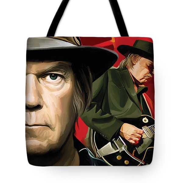 Neil Young Artwork Tote Bag by Sheraz A