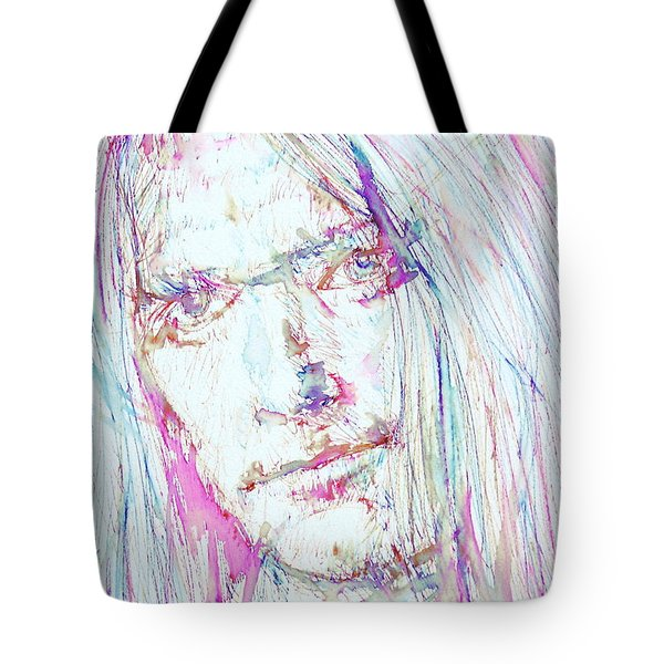Neil Young - Colored Pens Portrait Tote Bag by Fabrizio Cassetta