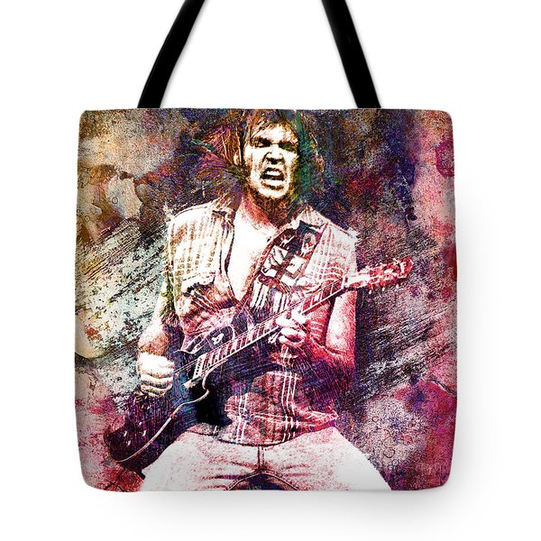 Neil Young Original Painting Print Tote Bag by Ryan Rock Artist