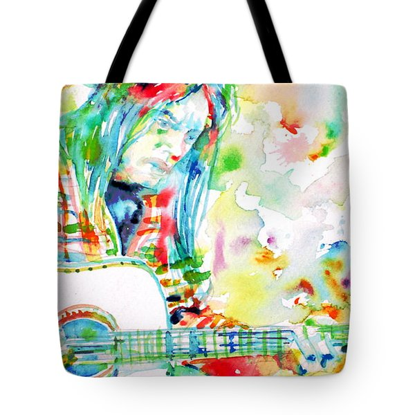 Neil Young Playing The Guitar - Watercolor Portrait.1 Tote Bag by Fabrizio Cassetta