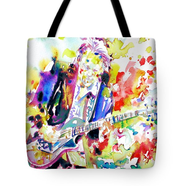 Neil Young Playing The Guitar - Watercolor Portrait.2 Tote Bag by Fabrizio Cassetta