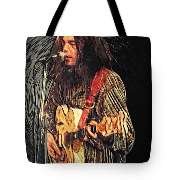 Neil Young Tote Bag by Taylan Soyturk