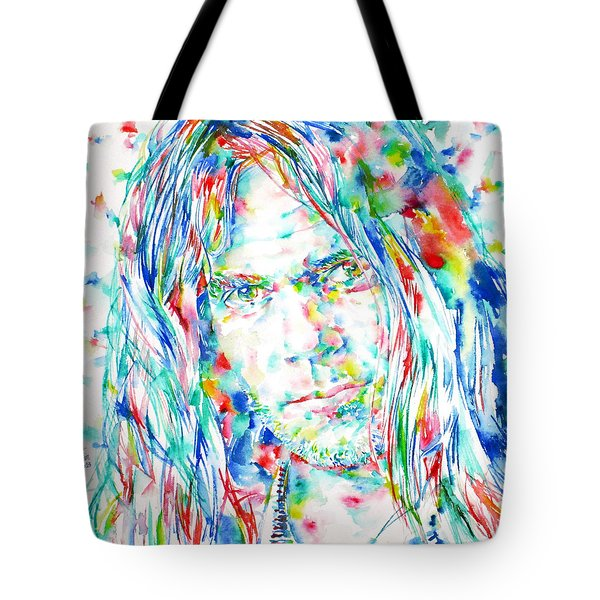 Neil Young - Watercolor Portrait Tote Bag by Fabrizio Cassetta