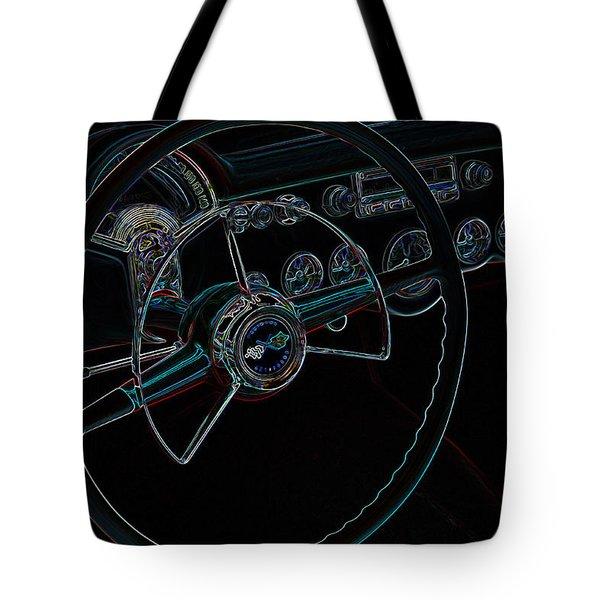Neon Corvette Dash Tote Bag by Steve McKinzie