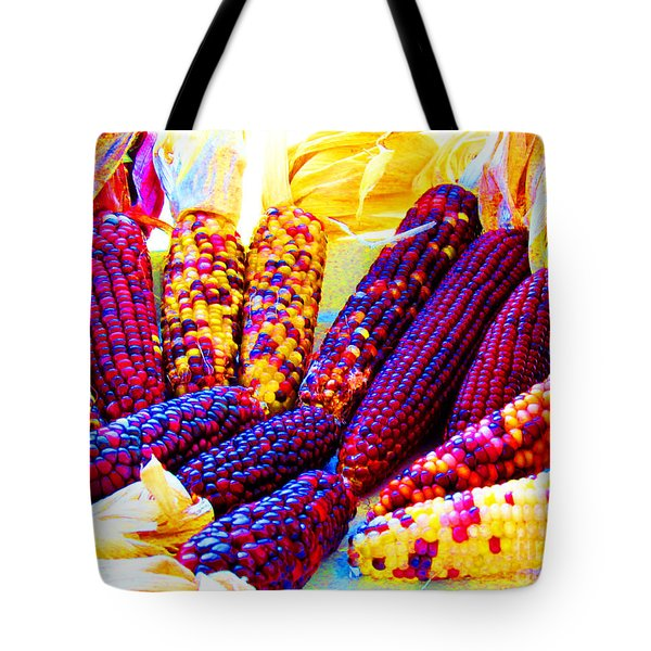 Neon Indian Corn Tote Bag by Tina M Wenger