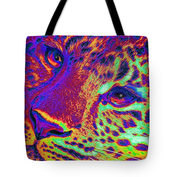 Neon Leopard Tote Bag by Jane Schnetlage
