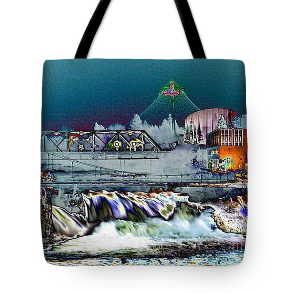 Neon Lights of Spokane Falls Tote Bag by Carol Groenen