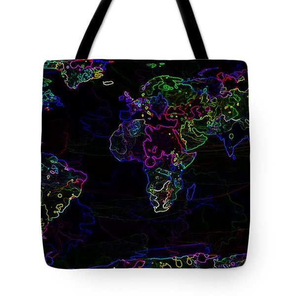 Neon World Map Tote Bag by Zaira Dzhaubaeva