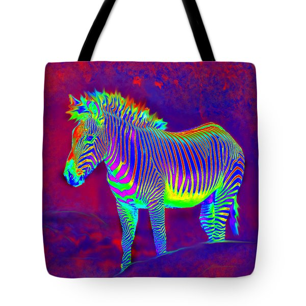 Neon Zebra Tote Bag by Jane Schnetlage